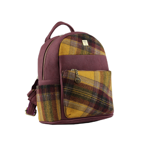House of Tweed Small Rucksack Handbag in Yellow Tweed